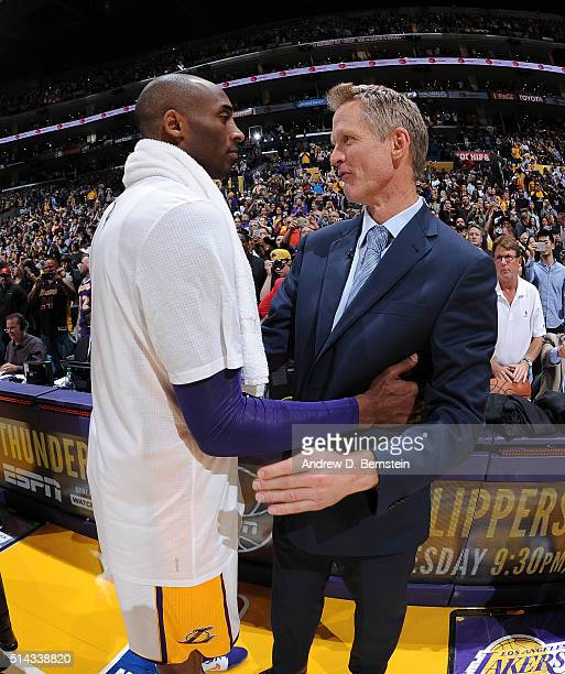 Kobe Bryant of the Los Angeles Lakers and Steve Kerr of the Golden State Warriors talk after the game at STAPLES Center on March 06 2016 in Los...