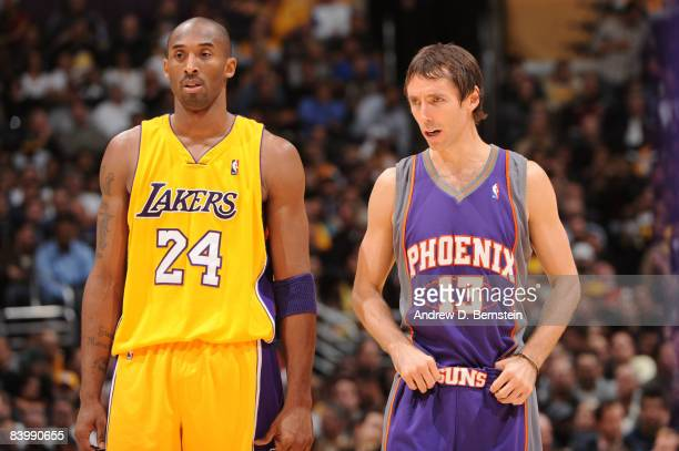 Kobe Bryant of the Los Angeles Lakers and Steve Nash of the Phoenix Suns stand together during their game at Staples Center on December 10 2008 in...