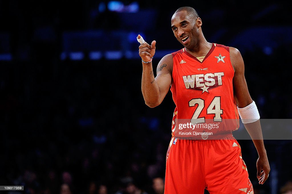 Kobe Bryant #24 of the Los Angeles Lakers and the Western Conference points in the 2011 NBA All-Star Game at Staples Center on February 20, 2011 in Los Angeles, California.