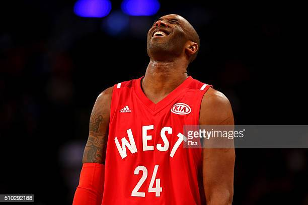 Kobe Bryant of the Los Angeles Lakers and the Western Conference smiles in the first half against the Eastern Conference during the NBA AllStar Game...