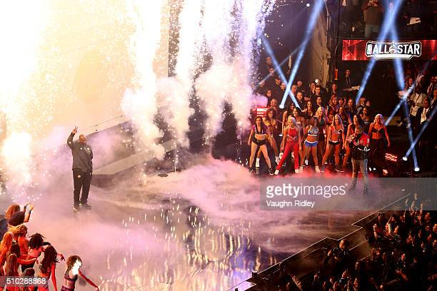 Kobe Bryant of the Los Angeles Lakers and the Western Conference is introduced as rapper Drake looks on during the NBA AllStar Game 2016 at the Air...
