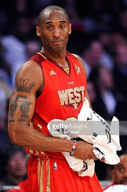 Kobe Bryant of the Los Angeles Lakers and the Western Conference looks on in the second half of the 2011 NBA AllStar Game at Staples Center on...