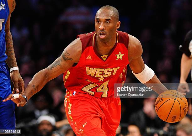 Kobe Bryant of the Los Angeles Lakers and the Western Conference moves the ball in the 2011 NBA All-Star Game at Staples Center on February 20, 2011...