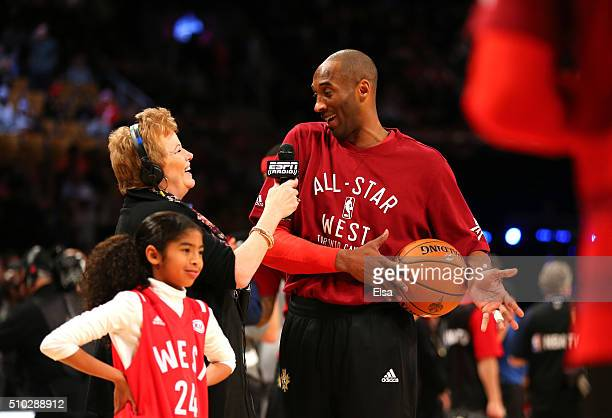 Kobe Bryant of the Los Angeles Lakers and the Western Conference warms up with daughter Gianna Bryant during the NBA All-Star Game 2016 at the Air...