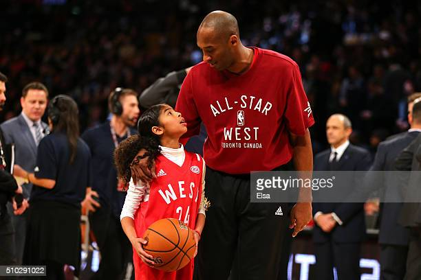 Kobe Bryant of the Los Angeles Lakers and the Western Conference warms up with daughter Gianna Bryant during the NBA AllStar Game 2016 at the Air...