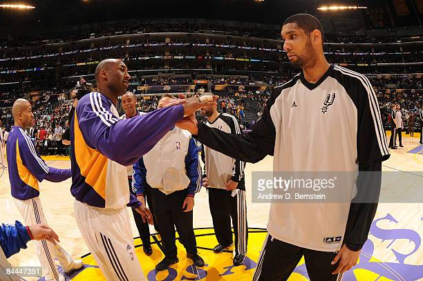 Kobe Bryant of the Los Angeles Lakers and Tim Duncan of the San Antonio Spurs greet each other before their game at Staples Center on January 25 2009...