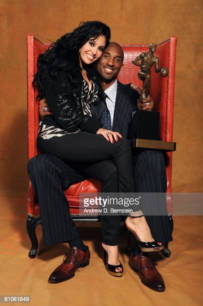 Kobe Bryant of the Los Angeles Lakers and wife Vanessa pose for a portrait during the 200708 NBA Most Valuable Player Award press conference...