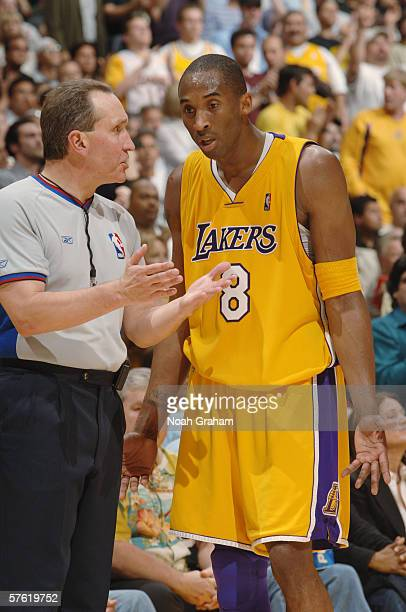 Kobe Bryant of the Los Angeles Lakers argues a call with referee Joe DeRosa during the game against the Phoenix Suns in game six of the Western...