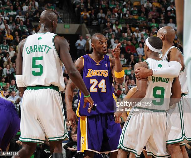 Kobe Bryant of the Los Angeles Lakers argues with Rajon Rondo of the Boston Celtics on February 5 2009 at the TD Banknorth Garden in Boston...
