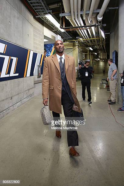 Kobe Bryant of the Los Angeles Lakers arrives at the arena and heads to the locker room before the game against the Utah Jazz on January 16 2016 at...