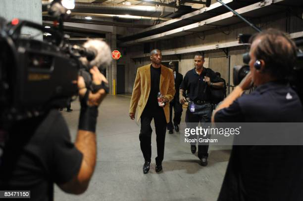 Kobe Bryant of the Los Angeles Lakers arrives prior to the seasonopening game against the Portland Trail Blazers at Staples Center on October 28 2008...