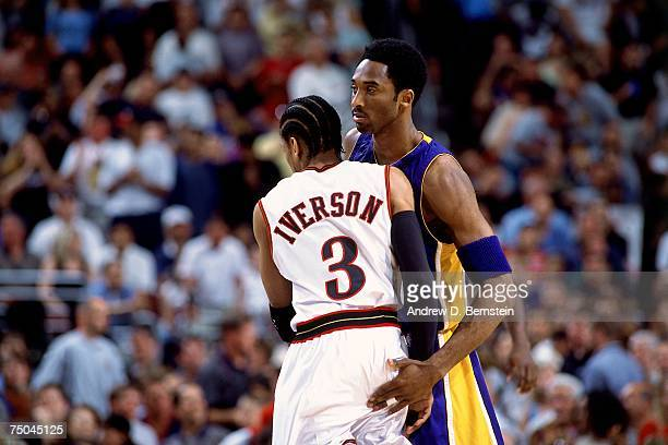 Kobe Bryant of the Los Angeles Lakers atmatches up against Allen Iverson of the Philadelphia 76ers during a 1998 NBA game at the First Union Center...