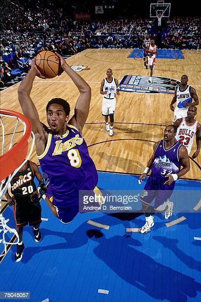 Kobe Bryant of the Los Angeles Lakers attempts a dunk during the 1998 NBA All-Star Game on February 8, 1998 at Madison Square Garden in New York, New...