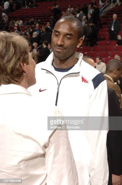 Kobe Bryant of the Los Angeles Lakers attends the TMobile Rookie Challenge on February 17 2006 at the Toyota Center in Houston Texas NOTE TO USERUser...