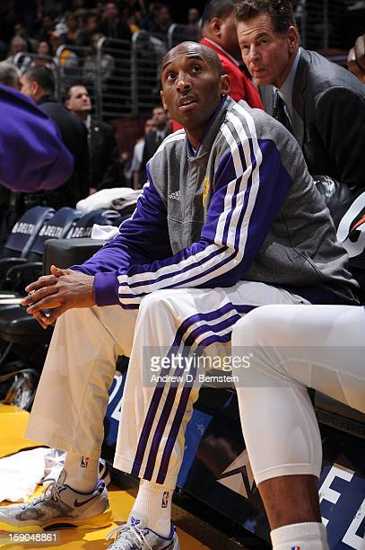 Kobe Bryant of the Los Angeles Lakers awaits his introduction before a game against the Denver Nuggets at Staples Center on January 6 2013 in Los...