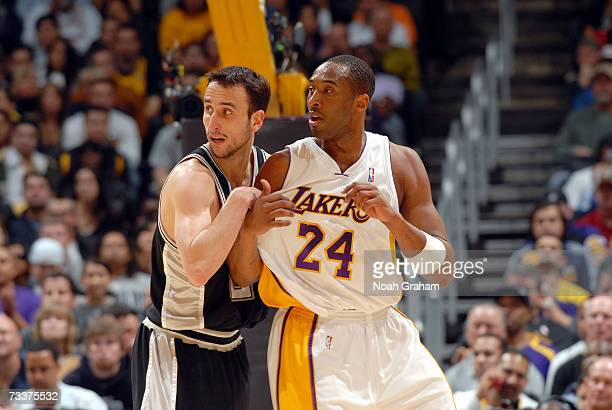 Kobe Bryant of the Los Angeles Lakers battles for position with Manu Ginobili of the San Antonio Spurs on January 28 2007 at Staples Center in Los...