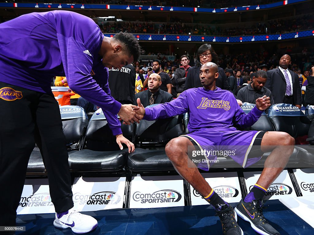 Kobe Bryant #24 of the Los Angeles Lakers before the game against the Washington Wizards on December 2, 2015 at Verizon Center in Washington, DC.