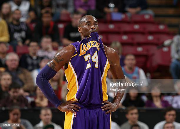 Kobe Bryant of the Los Angeles Lakers bites his jersey during their game against the Sacramento Kings at Power Balance Pavilion on November 21 2012...
