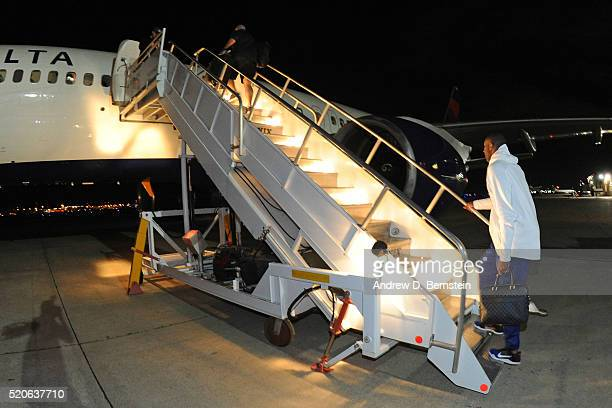 Kobe Bryant of the Los Angeles Lakers boards the plane to travel back to Los Angeles California from Oklahoma City Oklahoma on April 11 2016 NOTE TO...