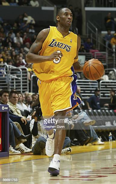 Kobe Bryant of the Los Angeles Lakers brings the ball upcourt against the Golden State Warriors on January 27 2006 at Staples Center in Los Angeles...