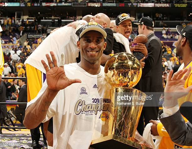 Kobe Bryant of the Los Angeles Lakers celebrate after winning over the Boston Celtics in Game Seven of the 2010 NBA Finals on June 17 2010 at Staples...