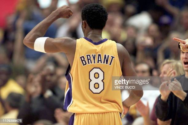 Kobe Bryant of the Los Angeles Lakers celebrates a basket during the final minutes of game 3 of the NBA Western Conference Finals against the San...