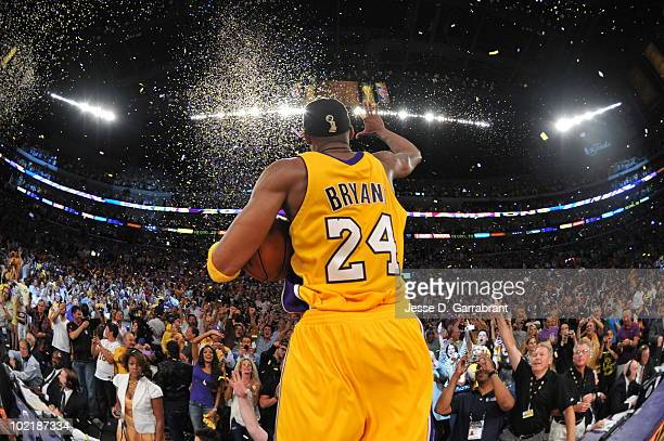 Kobe Bryant of the Los Angeles Lakers celebrates after defeating the Boston Celtics 8379 in Game Seven of the 2010 NBA Finals on June 17 2010 at...