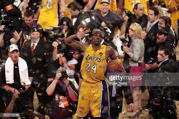 Kobe Bryant of the Los Angeles Lakers celebrates after defeating the Boston Celtics in Game Seven of the 2010 NBA Finals at Staples Center on June 17...