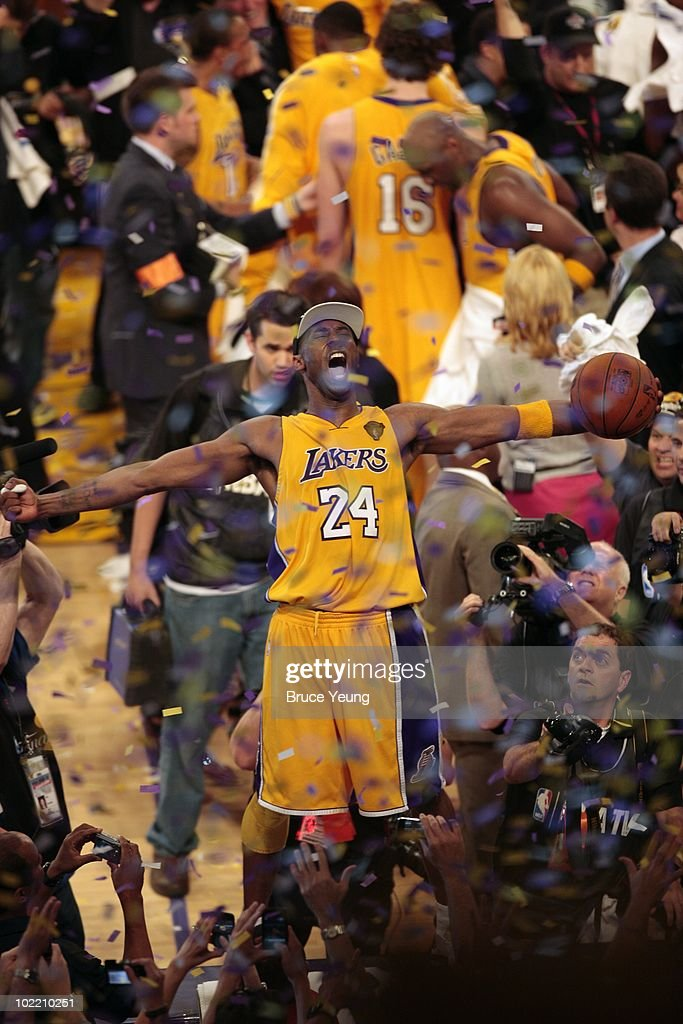 Kobe Bryant #24 of the Los Angeles Lakers celebrates after defeating the Boston Celtics in Game Seven of the 2010 NBA Finals at Staples Center on June 17, 2010 in Los Angeles, California. The Lakes won 83-79.