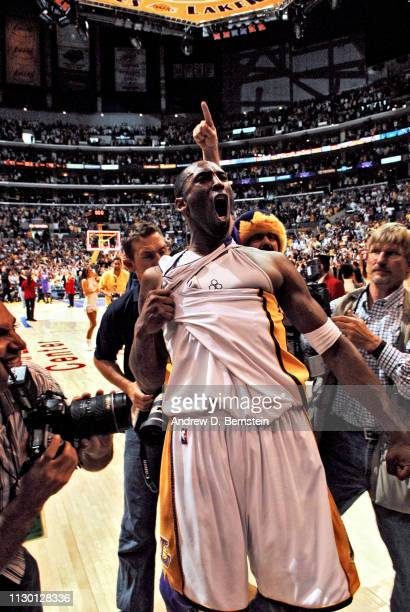 Kobe Bryant of the Los Angeles Lakers celebrates after defeating the Phoenix Suns in game four of the Western Conference Quarterfinals during the...