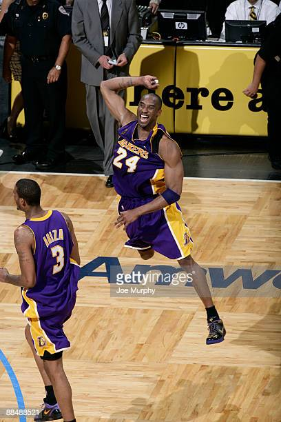 Kobe Bryant of the Los Angeles Lakers celebrates after defeating the Orlando Magic in Game Five of the 2009 NBA Finals at Amway Arena on June 14 2009...