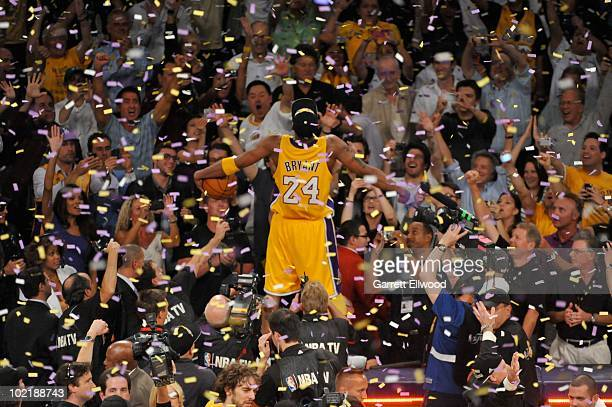 5cb483f22ba Kobe Bryant of the Los Angeles Lakers celebrates after Game Seven of the 2010  NBA Finals