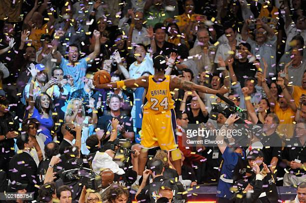 Kobe Bryant of the Los Angeles Lakers celebrates after Game Seven of the 2010 NBA Finals on June 17 2010 at Staples Center in Los Angeles California...