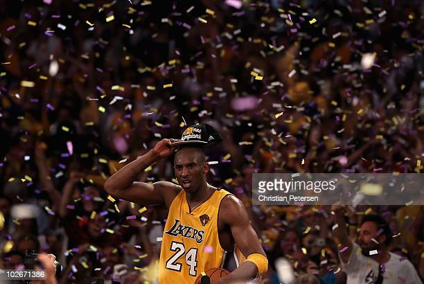 Kobe Bryant of the Los Angeles Lakers celebrates after the Lakers defeated the Boston Celtics in Game Seven of the 2010 NBA Finals at Staples Center...
