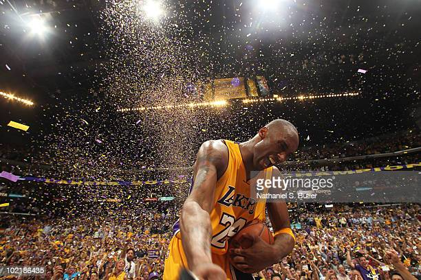 Kobe Bryant of the Los Angeles Lakers celebrates after winning over the Boston Celtics in Game Seven of the 2010 NBA Finals on June 17, 2010 at...