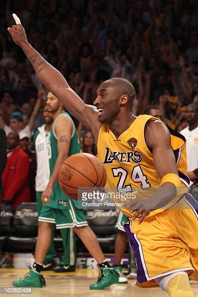 Kobe Bryant of the Los Angeles Lakers celebrates as the Lakers defeat the Boston Celtics in Game Seven of the 2010 NBA Finals at Staples Center on...
