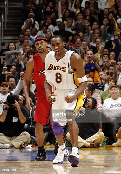 Kobe Bryant of the Los Angeles Lakers celebrates during a game against the Toronto Raptors on January 22 2006 at Staples Center in Los Angeles...