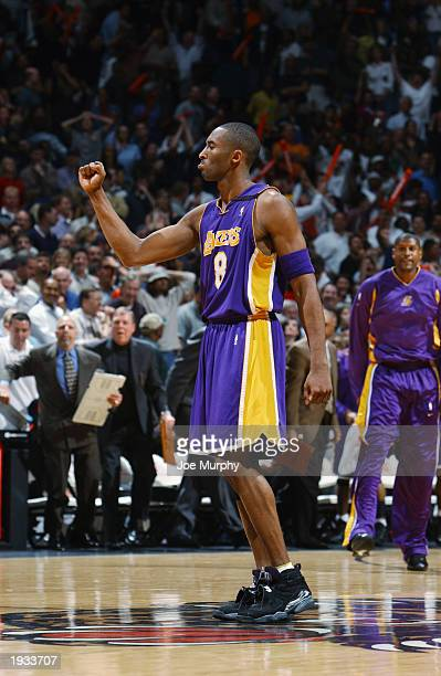 Kobe Bryant of the Los Angeles Lakers celebrates during the game against the Memphis Grizzlies at The Pyramid on April 4, 2003 in Memphis, Tennessee....