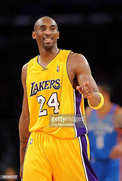 Kobe Bryant of the Los Angeles Lakers celebrates during the game against the Oklahoma City Thunder at Staples Center on December 22, 2009 in Los...