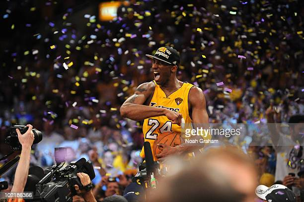Kobe Bryant of the Los Angeles Lakers celebrates his team's victory over the Boston Celtics in Game Seven of the 2010 NBA Finals on June 17 2010 at...