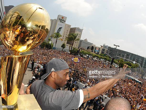 Kobe Bryant of the Los Angeles Lakers celebrates the 2009 NBA Championship during the Los Angeles Lakers Championship Parade and rally on June 17...