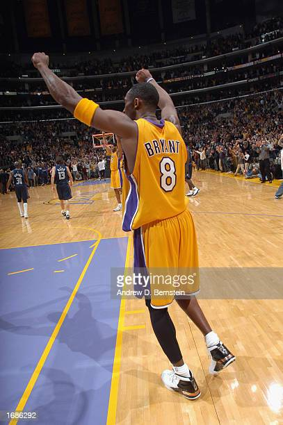 Kobe Bryant of the Los Angeles Lakers celebrates the 30-point comeback win against the Dallas Mavericks after the NBA game at Staples Center on...
