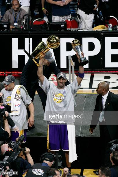 Kobe Bryant of the Los Angeles Lakers celebrates winning the 2009 NBA Finals against the Orlando Magic during Game Five of the 2009 NBA Finals at...
