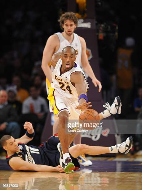 Kobe Bryant of the Los Angeles Lakers chases after a loose ball during a game against the Cleveland Cavaliers at Staples Center on December 25 2009...