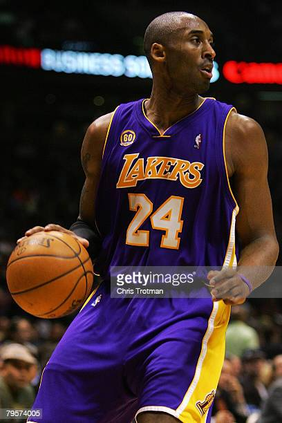 Kobe Bryant of the Los Angeles Lakers controls the ball against the New Jersey Nets at the Izod Center on February 5 2008 in East Rutherford New...