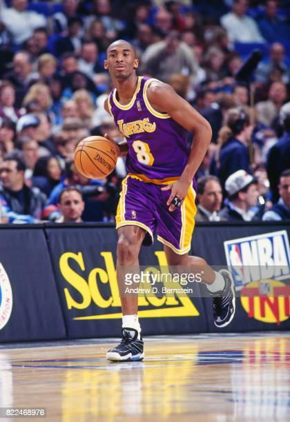Kobe Bryant of the Los Angeles Lakers dribbles during the 1997 Rookie Game played February 8 1997 at the Gund Arena in Cleveland Ohio NOTE TO USER...