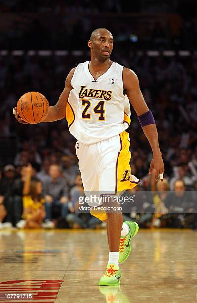 Kobe Bryant of the Los Angeles Lakers dribbles the ball against the Miami Heat during the NBA game at Staples Center on December 25 2010 in Los...