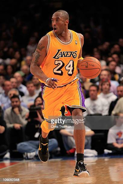 Kobe Bryant of the Los Angeles Lakers dribbles the ball against the New York Knicks at Madison Square Garden on February 11 2011 in New York City...