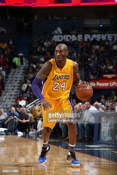 Kobe Bryant of the Los Angeles Lakers dribbles the ball against the New Orleans Pelicans on February 4 2016 at the Smoothie King Center in New...