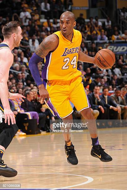 Kobe Bryant of the Los Angeles Lakers dribbles the ball against the Utah Jazz on April 13 2016 at Staples Center in Los Angeles California NOTE TO...